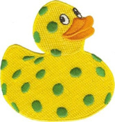 Novelty Iron On Patch - Animals Yellow Green Polka Dots Ducky Duck Logo