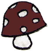 Novelty Iron On Patch - Brown/White Mushroom Applique