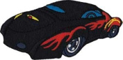 Novelty Iron on Patch - Car Culture Black Sports Roadster with Flames Logo