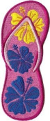 Novelty Iron On Patch - Hawaii Aloha Pink Flip Flop Sandals Applique