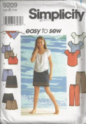 Simplicity 9209 Girls' Top, Skirt, Pants, Shorts & Head Scarf, Size A 7-16