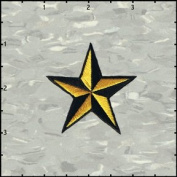 Star Novelty Iron On Embroidered Patch - 5.1cm 3D Yellow / Black Nautical Star Applique