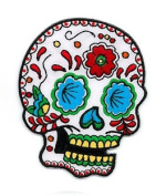 Sunny Buick Artist Novelty Iron On Patch - Candy Sugar Skull w/ Flower Third Eye Applique