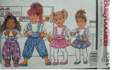 TODDLERS JUMPER, JUMPSUIT & TOP SIZES 1-2-3 FAST & EASY BUSYBODIES BY BUTTERICK PATTERN 5585