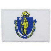 United States Rectangle State Flag Novelty Iron On Patch - Massachusetts Applique