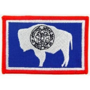 United States Rectangle State Flag Novelty Iron On Patch - Wyoming Applique