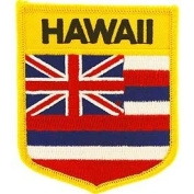 United States USA State Flag Shield Crest Novelty Iron On Patch - Hawaii Applique