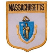 United States USA State Flag Shield Crest Novelty Iron On Patch - Massachusetts Applique