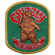US Air Force Military Iron On Patch - Grizzly 196th Tactical Fighter Squadron Logo