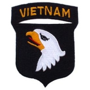 US Military Embroidered Iron on Patch - Vietnam War Collection - 101st Airborne Eagle Crest Applique
