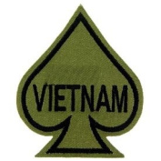 US Military Embroidered Iron on Patch - Vietnam War Collection - Green Subdued Ace of Spades Applique