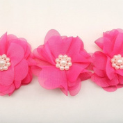 Hot Pink Chiffon Lace Trim Flower Trim Flower Floral Lace Trim Shabby lace trim wedding fabric Millinery accent motif by the yard for baby headband hair accessories dress bridal accessories by Annielov trim #87