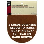 2 pcs pkg Dritz Suede Cowhide Elbow Patches Brown