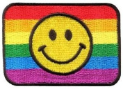 Smiley Face Rainbow Flag Gay Lesbian Retro Lgbt Applique Iron-on Patch New S-965 Cute Gift to Your Cloth.