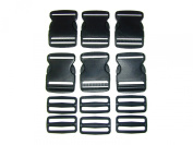 15cm - 5.1cm Black Side Release Buckles and 15cm - 5.1cm Black Triglide Buckles