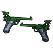 Novelty Iron On Patch - Creepy Zombie Dead Green Spider Web Gun Applique Set