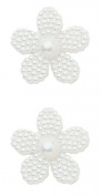 JHB International Inc Pointelle Pearl White Glass Button, 1.9cm 2-Per Card