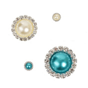 2013newestseller New DIY Decoractions Metal Rhinestone Buttons 10pcs Pearl Colour+10pcs Water Blue