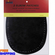 2/pkg Sew-on 11cm x 15cm Black Suede Cowhide Elbow Patches
