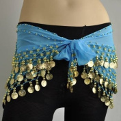ZITRADES Blue Dance Hip Scarf with Gold Coins and Great Gift Idea BY ZITRADES