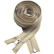 160cm Coat Lining Zipper ~ YKK #3 Coat Lining Separating ~ Aluminium ~ Beige