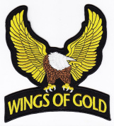 Biker Wings Of Gold Eagle Iron on Backing Embroidered Patch Heat Seal Motorcycle Appliques