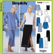 OOP/UNCUT SIMPLICITY 5568 WOMAN'S PLUS SPORTSWEAR - TUNICS, TOP, PANTS, SKIRTS, CROP PANTS PLUS SIZE