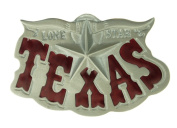 Silver Texas Lone Star Long Horn Belt Buckle