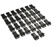 "Blue Elf 30 PCS 3/4""(19mm) Black Side Release Whistle Buckles with Free Cable Organiser"