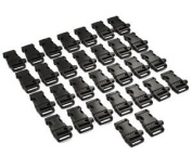 """Blue Elf 30 PCS 3/4""""(19mm) Black Side Release Whistle Buckles with Free Cable Organiser"""