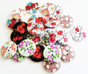 Wooden Buttons - Pack of 20/50pcs- Mix Colourful Designs-30mm with 2 holes