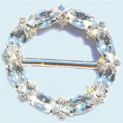 Czech Crystal Fashion Buckle ~Style 7285 Round Shape ~ 16 Small Round and 8 Navette Stones