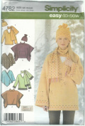 Simplicity Womans Pullover Top, Ponchos, Scarf and Hat Sewing Pattern # 4782