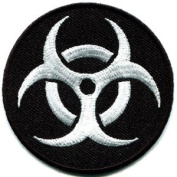 Biohazard Danger Toxic Poison Alert Biker Appliques Hat Cap Polo Backpack Clothing Jacket Shirt DIY Embroidered Iron On / Sew On Patch #1
