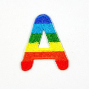A Character Letter Alphabet Rainbow Appliques Hat Cap Polo Backpack Clothing Jacket Shirt DIY Embroidered Iron On / Sew On Patch