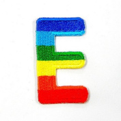 E Character Letter Alphabet Rainbow Appliques Hat Cap Polo Backpack Clothing Jacket Shirt DIY Embroidered Iron On / Sew On Patch