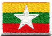 Flag of Myanmar Myanma Burma Burmese Asia Applique Iron-on Patch New Med. S-842 Handmade Design From Thailand