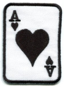 Ace of Hearts Playing Cards Retro Biker Rat Pack Applique Iron-on Patch New S-11 Handmade Design From Thailand