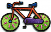 Bicycle Retro Bike Cycle Cyclist 70s Kids Fun Applique Iron-on Patch New S-331 Handmade Design From Thailand
