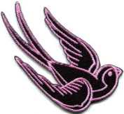 Bird Tattoo Swallow Dove Swiftlet Sparrow Biker Applique Iron-on Patch Lg. S-359 Handmade Design From Thailand