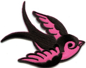 Bird Tattoo Swallow Dove Swiftlet Sparrow Biker Applique Iron-on Patch New S-594 Handmade Design From Thailand
