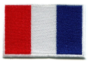Flag of France French Tricolour Embroidered Applique Iron-on Patch Small S-98 Handmade Design From Thailand