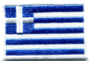 Flag of Greece Greek Hellenic Freedom or Death Applique Iron-on Patch Med. S-349 Handmade Design From Thailand