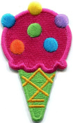 Ice Cream Cone 70s Retro Fun Dessert Sweets Kids Applique Iron-on Patch S-382 Handmade Design From Thailand