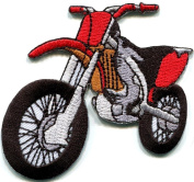 Motorcycle Motocross Racing Dirt Bike Off-road Applique Iron-on Patch New S-679 Handmade Design From Thailand