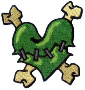 Creepy Zombie Green Stitched Heart w/ Crossbones Applique Novelty Iron On Patch