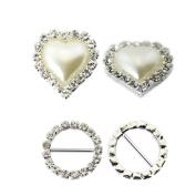 2013newestseller New 2 Kinds Buckles 10 Pcs Heart Pearl+10 Pcs Round Rhinestone Buckles 20pcs