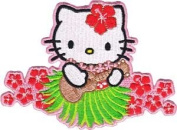 Sanrio Hello Kitty Iron On Patch - Cat in Hula Skirt w/ Ukelele Guitar Applique