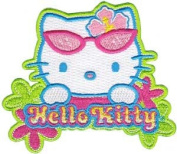 Sanrio Hello Kitty Iron On Patch - Sunglasses Cat Head & Flowers Applique