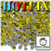 The Crafts Outlet DMC HOTFIX Superior Quality Glass 144-Piece Round Rhinestones Embellishment, 6mm, Lemon